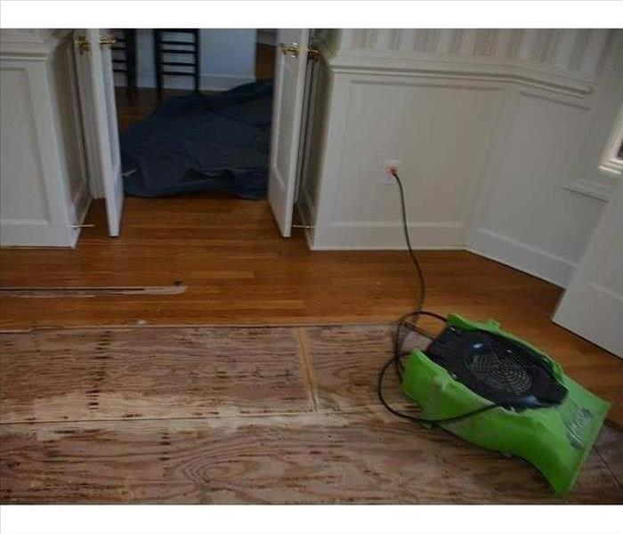 An armorer drying the hardwoods in this home after a water loss