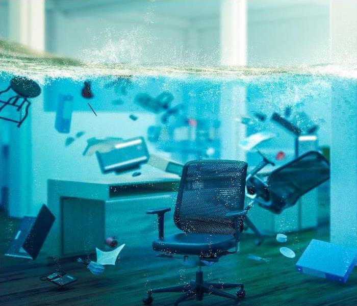water damaged office