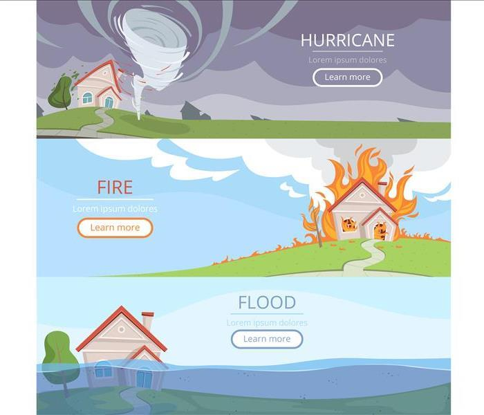 Cartoon images of houses affected by hurricanes, floods, and fires