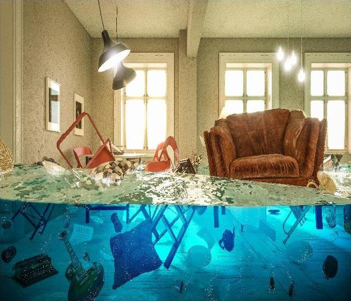living room flooded with floating chair and no one above